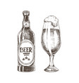 foamy beer in glassy goblet and closed ale bottle vector image vector image