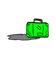 green travel bag with shadow sketch vector image