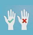 hands vote yes and no paper art vector image