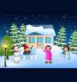 happy kids wearing a winter clotes playing a snow vector image vector image