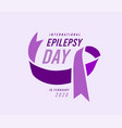 international epilepsy day with purple ribbon vector image vector image