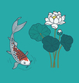 Japanese Fish and Lotus vector image