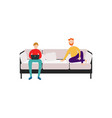 men friends or roommates sitting on couch flat vector image vector image