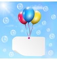 Multicolored balloons with paper card vector image vector image