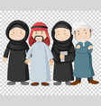 muslim people on transparent background vector image vector image