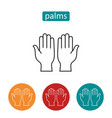 open human palms outline icons set vector image vector image