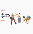 people in trouble with drink splash landing page vector image