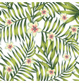 plumeria palm leaves green seamless pattern vector image vector image