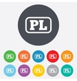 Polish language sign icon PL translation vector image vector image