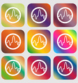 pulse Icon Nine buttons with bright gradients for vector image vector image