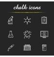 Science laboratory tools chalk icons set vector image