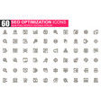 seo optimization thin line icon set vector image vector image