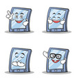 set of tablet character cartoon style vector image vector image