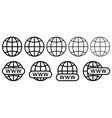 set website icons www search bar icon design vector image