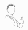 sketch young woman with no face showing thumb vector image