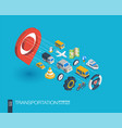 transportation integrated 3d web icons growth and vector image vector image