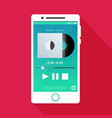 with a mobile phone in flat style with a musical vector image vector image