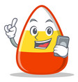 with phone candy corn character cartoon vector image vector image
