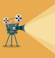 yellow background with movie projector vector image vector image