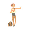 young woman standing with a sign hitchhiking and vector image vector image