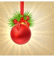Christmas shine gold background with Red christmas vector image