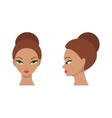 Female face front and side vector image