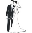 Wedding couple silhouette 02 vector image