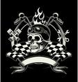 biker emblem with skull or dead motorcycle vector image