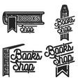 vintage books shop emblems vector image