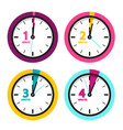 1 2 3 4 minutes clock time icons set isolated on vector image vector image