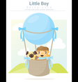 A little boy and his dog riding a hot air balloon vector image vector image