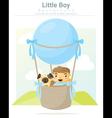 a little boy and his dog riding hot air balloon vector image
