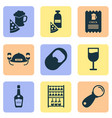alcohol icons set with opener beer helmet lever vector image