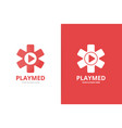 ambulance and play button logo combination vector image vector image
