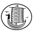 an ancient scandinavian image of a viking ship vector image vector image