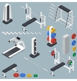 Athletic accessories for fitness center isometric vector image