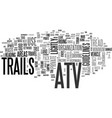 atv trails text word cloud concept vector image vector image