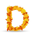 autumn leaves font letter D vector image