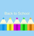 back to school colorful pencil blue background vector image