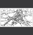 bern switzerland map in black and white color vector image vector image