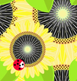 big sunflowers and ladybug seamless background vector image vector image