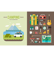Camping Concept Set of and Icons in Flat Design vector image vector image