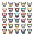 Colorful owls set on white background vector image vector image