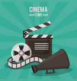 colorful poster of cinema time with clapperboard vector image vector image