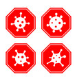 coronavirus 2019-ncov corona virus icon set red vector image vector image