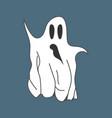 cute cartoon white ghost isolated on dark vector image