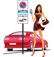 fashion model sending sms for parking of car vector image vector image