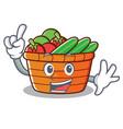 finger fruit basket character cartoon vector image