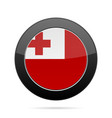 flag of tonga shiny black round button vector image