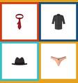 flat icon dress set of lingerie panama cravat vector image vector image